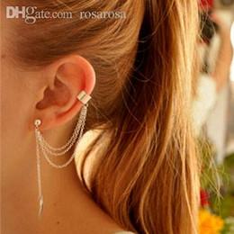 Wholesale Chain Earring Cuffs Wraps - Wholesale-Women Stylish Punk Leaf Chain Tassel Dangle Clip Ear Cuff Earrings Summer Style Gold Silver Wrap Long Earring Brincos SS5002