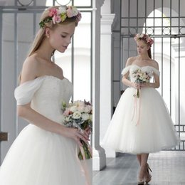 Wholesale Casual Tea Length Lace Dress - 2017 Spring Tea Length Wedding Dresses Short A Line Off the Shoulder Puffy Tulle Bridal Gowns Beaded Lace Top Soft Sweetheart Neck Casual
