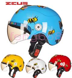Wholesale Child Motorcycle Helmet - 2016 New Taiwan ZEUS children's helmets Four Seasons half face Motorcycle electric bicycles helmet Harley style child helmets ABS little bee