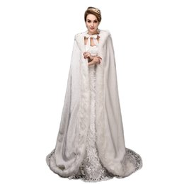Wholesale Winter Wedding Coats For Bridesmaids - Hooded Bridal Cape Long Wedding Cloaks Faux Fur For Winter Wedding Bridal Wraps Bridal Cloak Plus Size Bride Bridesmaid Coat Suit Jacket