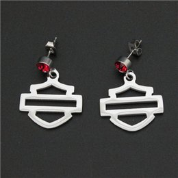 Wholesale Polished Stone Jewelry - Cool biker jewelry hot sellings polishing silver biker earrings with red crystal stone dangle chandelier biker events