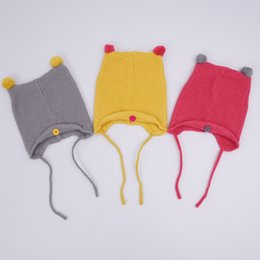 Wholesale Cute Toddler Girls Winter Hats - Fashion Autumn Winter Warm Cotton Baby Beanie Hat Girl Boy Toddler Infant Kids Caps Brand Candy Color Cute Baby Accessories for 6-24M