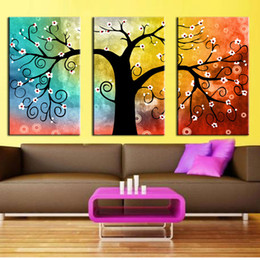 Wholesale Tree Art Big Canvas - 3 panel Canvas Painting Art Oil Tree Painting Colorful Big Tree Painting On Canvas Home Decor Wall Artwork Abstract Wall Art Pictures