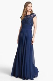 Wholesale Affordable Bridesmaid Dresses Lavender - Affordable Floor Length Navy Bridesmaid Dresses Long Lace Chiffon Flowing Evening Gown Maids Brides Dresses Party Wedding Guest Dress