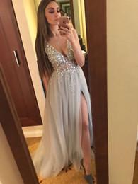 2019 ligne de robe mère enfant 2017 Sexy Robes De Soirée Profonde Col En V Sequins Tulle Haute Fendue Longue Gris Robes De Soirée Sheer Dos Nu Prom robes De soirée Real Photos