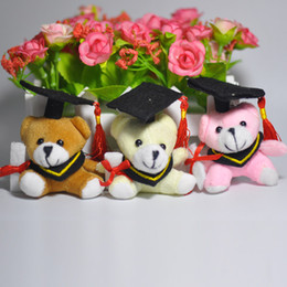 Wholesale Graduated Bear - 50pcs Plush Toys graduate bear keychain wearing spectacles plush doctor dog graduation Xmas gift 6cm