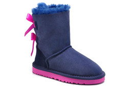 Wholesale Knitted Calf Boots - Good cheap Kids snowboots Mid-Calf flat sole snowboots 100% wool padded fashion back butterfly knit winter warm boots