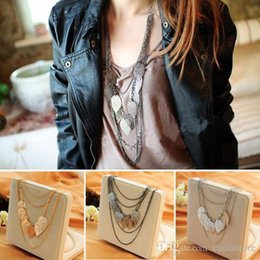 Wholesale 14k gold beaded necklace - Korean Fashion Jewelry Bohemia Multilayer Leaf Necklace Pendant Womens Long Sweater Chain Beauty Par C00480
