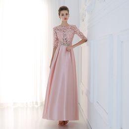 Wholesale Long Sleeved Back Zipper Dress - Robe De Soiree 2016 New Luxury Lace Satin Half Sleeved Long Evening Dress Elegant Prom Dresses Mother of The Bride Formal Dress