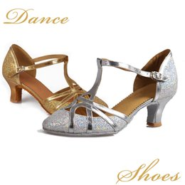 Wholesale Ballroom Dance Fashion - New arriver Fashion tango dancing girls women ballroom latin shoes ladies 5CM Gold   Silver