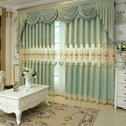 Wholesale Green Window Curtains - New Arrival Chenille Western Curtain Jacquard Weave Window Shades Living Room Bedroom Light Green Hollow Design Embroidery Curtains #Valance