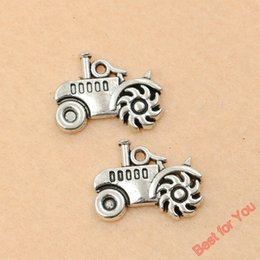 Wholesale Tractor Charms - Tractor Charms Antique Silver Plated Pendants Fashion Jewelry DIY Jewelry Making Zinc Alloy 15x19mm jewelry making