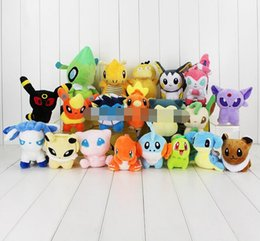 Wholesale Free Stuff Games - 20 styles Poke plush toys torchic Mewtwo Groudon Charmander eevee Pikachu 13-20cm Soft Stuffed Dolls toy Chrismas Gifts MOQ 20pcs Free Shipp