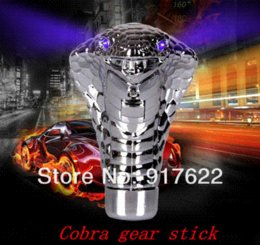 Wholesale Snake Gear Knob - Universal Cool Snake cae Gear Shift Knob lever Stick Lighted Gears Rally Racing Shifter for Manual Transmission Blue Red led Eye M48850