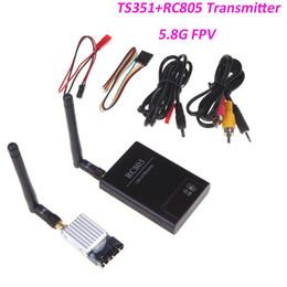 Wholesale Ts351 Transmitter - 100% Boscam 5.8GHz FPV 200mW 2KM 2000M AV Wireless Transmitter TX Rx Receiver TS351+RC805 Kit 5.8G for RC MultiCopter DJI