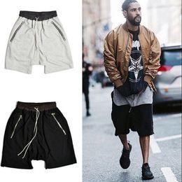 Wholesale Men S Drop Crotch Pants - Wholesale-Mens Hi Street Fashion Harem Shorts Kanye West Drop Crotch Loose Men Short Pants Drawstring Pocket With Zipper Shorts For Men
