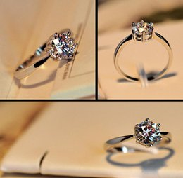 Wholesale Wholesale Personalized Diamond Silver Jewelry - charm 925 silver Gorgeous Wedding Rings Big Crystal Zircon Gem Plated Bride Ring Personalized Women Jewelry 15pcs lot 2
