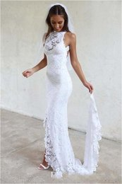 Wholesale Cheap Girls Maxi Dresses - 2017 White Backless Mermaid Wedding Dresses Lace Garden Summer Long Cheap Split Boho Maxi Bridal Gowns for Girls