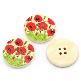Wholesale Express Accessories Wholesale - 50PCs Wood Buttons Sewing Scrapbooking Hibiscus Flower Print Round Multicolor Over $115 Free Express M65273