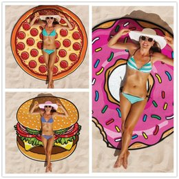 Wholesale Red Sarong Wrap - Summer 150cm Round Beach Towel European Style New Sarongs Chiffon Polyester Fabric Scarves Wraps Hamburger Donut Pizza Printed Shawl Swim