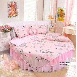 Wholesale Duvet Cover Princess - Dream round bed duvet cover set home round bedding 4pcs set bed skirt round bed princess bedding cotton bed linen bedskirt wedding home set
