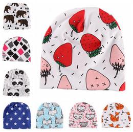 Wholesale Tiger Beanie Hat - Baby Cotton Beanie INS Soft Hats Newborn Christmas Caps Cartoon Fox Hat Animal Print Cap Winter Panda Tiger Fruit Bonnet Caps OOA2754