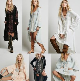 Wholesale Vintage Ethnic Dress - Free shipping Women Vintage Ethnic Flower Embroidered Cotton Tunic Casual Long Dress Hippie Boho People Asymmetric High Low