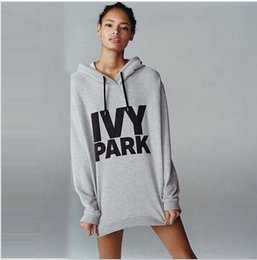 Wholesale Exo Pullover - Wholesale- 2016 Summer and Fall Ladies IVY PARK Grey Streetwear Sweatshirts Hoodies Pullover Long Sleeve Exo Sexy Long Sleeve Hooded
