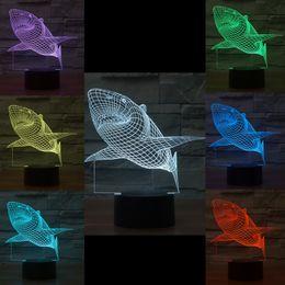 luces de tiburon led Rebajas Lote mixto Shark 3D Optical Night Light 10 EDs Acrílico Light Panel Batería DC 5V Fábrica al por mayor