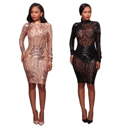 Wholesale sexy black halter transparent - Woman Sexy Nightclub Dress 2017 Autumn Woman Fashion Stand Collar Long Sleeve Halter Dress Woman Black Transparent Sequins Bodycon Dress