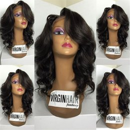 Wholesale Sexy Chinese Stockings - Sexy Long wave Unprocessed Brazilian Human Hair Full Lace Wigs Hair Wigs With Baby Hair In Stock Fashion Style Free Shipping