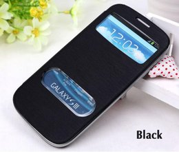 Wholesale Galaxy S3 View Cover - Flip Cover Shell Holster Slim View Original Battery Housing Leather Case For Samsung Galaxy S3 I9300   S3 Neo I9300i   S3 Duos