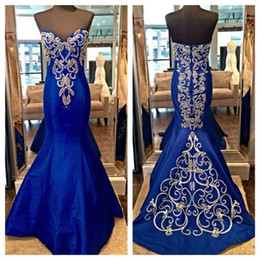 Wholesale Strapless Indian Dress - Real Photos Royal Blue Mermaid Prom Dresses 2016 Strapless Silver Embroidery Plus Size Arabic Indian Style Formal Evening Party Gowns Cheap