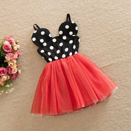 Wholesale Dress Suspenders Ruffle - 2-6Y New 2016 Minnie Dress Princess Child Girls Party Dresses Mickey Minnie Mouse Dress Polka Dot Baby Girls Clothes Kids Clothing Wholesale