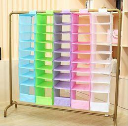 Wholesale Shoes Closet Organizer - 9 Cell Hanging Box Underwear Sorting Clothing Shoe Jean Storage Mails Door Wall Closet Organizer Closet Organizador Bag