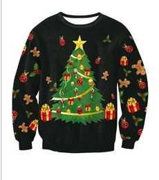 Wholesale T Shirt Hoodies For Women - Christmas Hoodies Christmas Tree Printed Long Sleeved Blouse T-shirt Cute Hoodies For Man And Women 4 Types