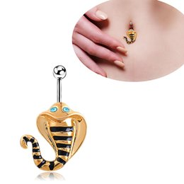 Wholesale Crystal Snake Rings - Women Body Jewelry Piercing 316L Surgical Steel Blue Crystal Gold Plated Cobra Snake Navel Belly Button Rings