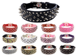 Wholesale Leather Leopard Large Dog Collar - Pet Dog Collar PU Leather Spiked Studded Dog Collars Necklace Adjustable For Medium & Large Breeds Pitbull Boxer with leopard print cheeta