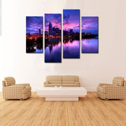 Wholesale Paintings Cityscapes - 4 Picture Combination Canvas Painting Wall Art The Picture For Home Decoration Night Buildings Cityscape Print On Canvas Artwork