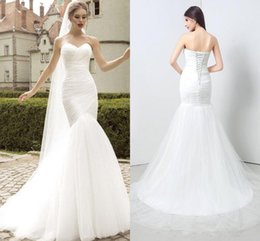 Wholesale Simple Sweetheart Mermaid Dress - Fabulous Simple Tulle Mermaid Trumpet Wedding Dress 2017 Sexy Sweetheart Open Back Court Train Bridal Gowns Custom Made