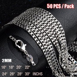 Wholesale Anniversary Pack - 50PCS   Pack 16-30inches 925 Sterling Silver Figaro Chains For Men Women Pendant Necklaces Fashion Jewelry Accessories With Lobster Clasps