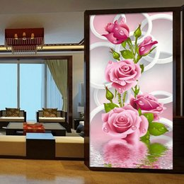 Wholesale Needlework Pictures - Needlework 5D Diy Diamond Painting Cross Stitch Pink Rose Diamond Embroidery Flower Vertical Print Rubik's Cube Drill Picture