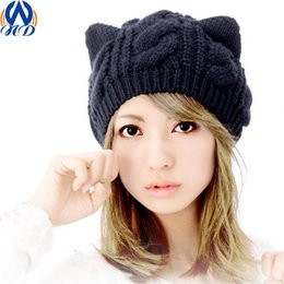 Wholesale Skull Beanie Knitting Pattern - Fashion Women Caps Twist Cat Ears Pattern Girls Winter Hat Knitted Sweater Skullies & Beanie Hats For Female Drop Shipping MZ00019