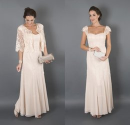 Wholesale Groom Suits For Beach Wedding - Bridal Mother Dresses for Beach Wedding Long Cap Sleeves Wedding Guest Dresses Mother of the Groom Dresses with Lace Jacket
