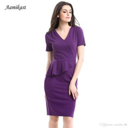 Wholesale Wholesale Work Dresses For Women - New Fashion Style Women Work Dresses Solid Ruffled V-neck Sexy Package hip Dresses For Women Summer Dresses Free Shipping by DHL