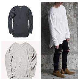 Wholesale Plain White T Shirts Man - Hipster Men Justin Bieber Clothes Streetwear Brand Clothing Kanye West Long Sleeve Plain Extended T shirt Curved Hem Tee