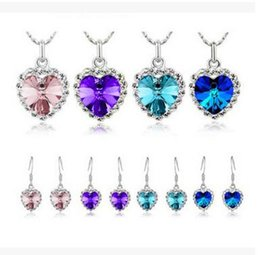 Wholesale Heart Ocean Jewelry Set - Titanic Women Austria Crystal Heart Necklace Drop Earrings Jewelry Set Ocean Heart Crystal Set Fashion Crystal Jewelry