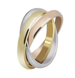 Wholesale Band Ring 4mm - Stainless Steel Triple Tone Tri-Roll Links Band Ring Composed of 3 Colors: Gold, Rose Gold, and silver Each Individual band is 4mm