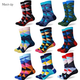 Wholesale Free Style Argyle - New style colorful ARGYLE SOCK men's combed cotton socks brand man dress knit socks Wedding Gifts Free shipping US size(7.5-12)