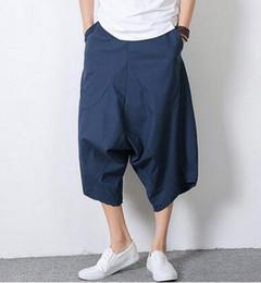 Wholesale Flax Pants Xl - Wholesale-Summer Black blue loose costume sport Breathable linen Harem pants mens punk casual flax pants man male trousers men's pants
